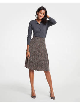 Petite Geo Dot Pleated Full Skirt by Ann Taylor