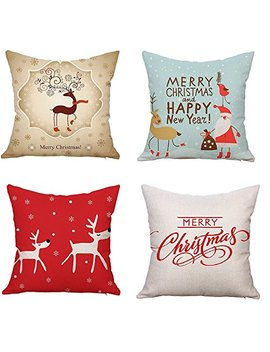 "Naturalshow Throw Pillow Covers Set Of 4 Decorative Pillowcase Covers Cushion Case 18""X 18"" Christmas Reindeer by Naturalshow"