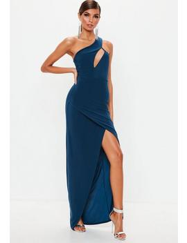 Navy Slinky One Shoulder Cut Out Maxi Dress by Missguided
