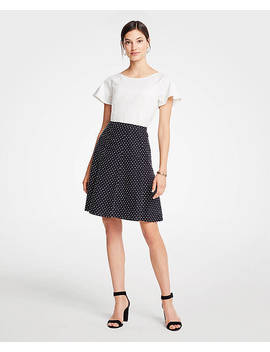 Petite Clip Dot Flare Skirt by Ann Taylor