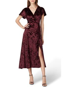 Panne Velvet Faux Wrap Dress by Tahari