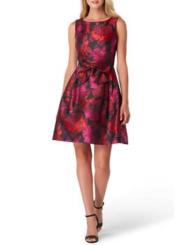 Sleeveless Jacquard Fit & Flare Dress by Tahari