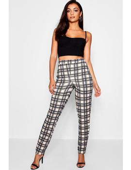 Tall Crepe Checked Tailored Trouser by Boohoo