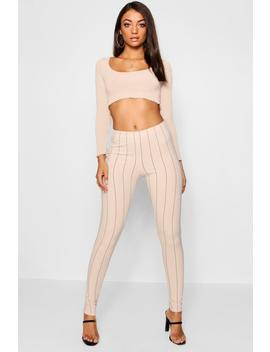 Tall Pinstripe Skinny Trousers by Boohoo