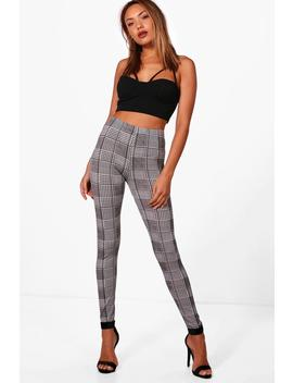 Dogtooth Check Basic Jersey Leggings by Boohoo