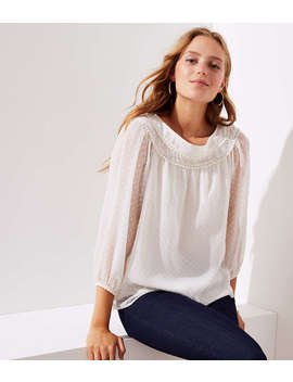 Pom Pom Swiss Dot Blouse by Loft