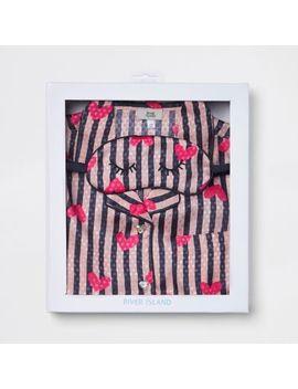 Girls Pink Heart Stripe Satin Pyjama Set by River Island