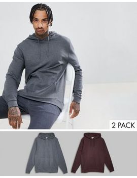 Asos Design Hoodie 2 Pack Charcoal Marl/Burgundy by Asos Design