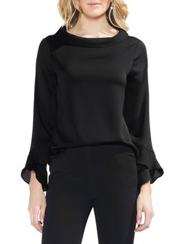 Flutter Cuff Hammered Satin Blouse by Vince Camuto
