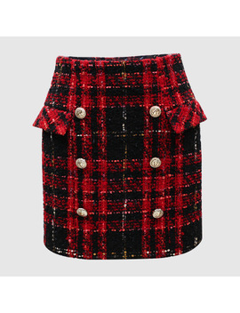New  Temperament Of  Fund Of 2017 Autumn Double Breasted Coat Fringed Chequered Woolen Cloth Skirts by Ayomis