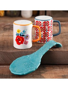 The Pioneer Woman Flea Market Stoneware Turquoise Spoon Rest & Salt And Pepper Set by The Pioneer Woman
