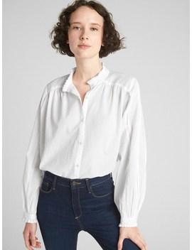 Pintuck Ruffle Trim Blouson Sleeve Shirt by Gap