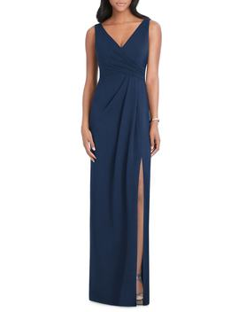 Pleated Surplice Stretch Crepe Gown by After Six