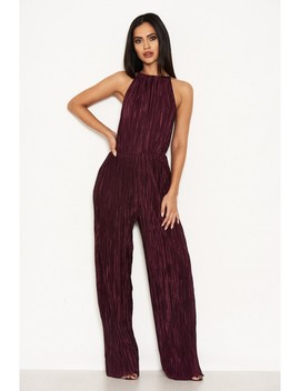 Plum Pleated High Neck Jumpsuit by Ax Paris