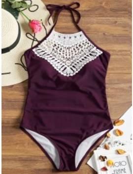Crochet Insert Back Bowtie Swimwear   Claret S by Zaful