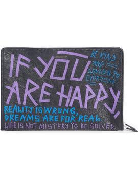 Bazar Graffiti Leather Pouch by Balenciaga