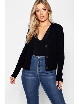 Plus Horn Button Detail Rib Cardigan by Boohoo