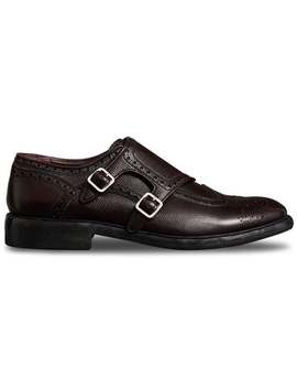 Burberry Brogue Detail Textured Leather Monk Shoeshome Men Burberry Shoes Monk Shoes by Burberry