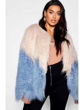 Plus Two Tone Shaggy Faux Fur Jacket by Boohoo
