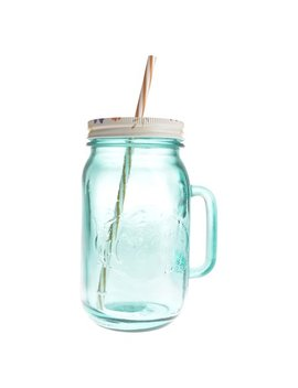 The Pioneer Woman 32 Ounce Teal Mason Jar With Lid And Straw by The Pioneer Woman