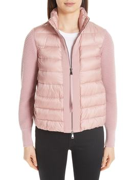 Quilted Down & Knit Cardigan by Moncler