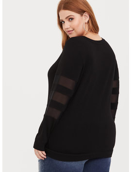 Black Mesh Sleeve Sweatshirt by Torrid