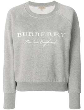 Burberry Embroidered Cotton Blend Jerseyhome Women Burberry Clothing Sweatersstriped Socks A Line Mini Skirt Embroidered Cotton Blend Jersey by Burberry