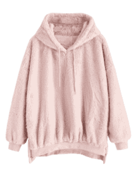 Zipper Embellished Faux Fur Hoodie   Pig Pink by Zaful