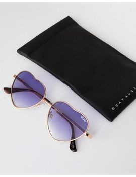 Quay Australia Kim Heart Sunglasses In Gold by Quay Eyeware