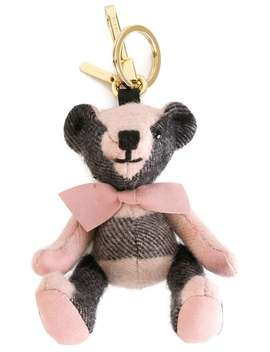 Burberry Thomas Bear Charm In Check Cashmere Home Women Burberry Accessories Keyrings & Chains by Burberry