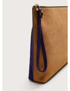 Bicolor Leather Envelope Bag by Mango