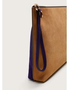 Bicolor Leather Envelope Bag by Mango