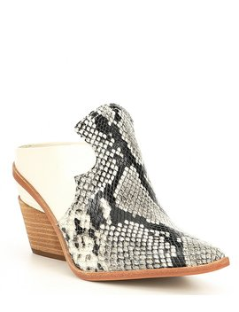 Macnelle Pieced Leather Western Mules by Gianni Bini