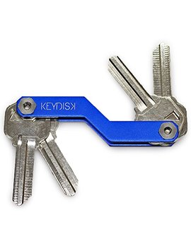 Keydisk Mini • Slim Key Holder • Aerograde Anodized Aluminum • Compact Keychain Organizer • Great For Lanyards, Key Fobs, Key Ring (Blue) by Keydisk