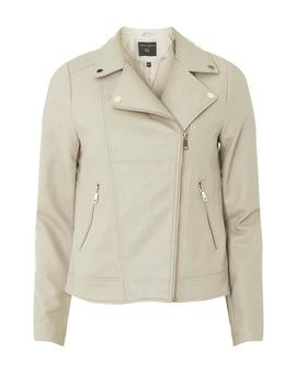 Neutral Faux Leather Biker Jacket by Dorothy Perkins