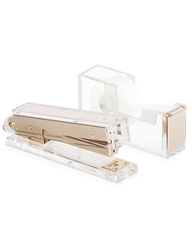 Set Of Stapler And Tape: Desk Swag Acrylic Gold Stapler And Tape Dispenser Set Modern High End Luxury Desk Accessories Set Tape And Stapler by Desk Swag
