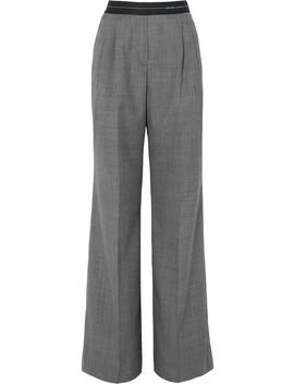 Checked Wool Wide Leg Pants by Prada