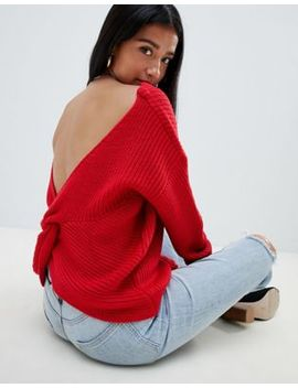 Missguided Twist Back Sweater In Red by Missguided Petite