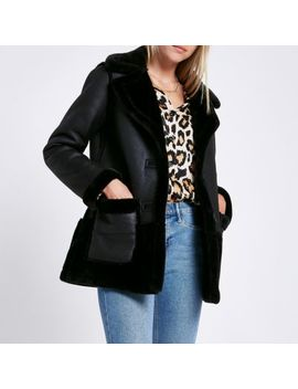 Black Reversible Suedette Shearling Coat by River Island