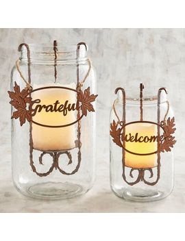 Iron Leaves Jar Hurricane Candle Holders by Grateful Harvest Collection
