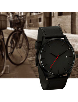 Reloj De Pulsera Para Hombres Moda Deporte Caja De Acero Inoxidable Malla De Cuero Cuarzo Analógico by Ebay Seller
