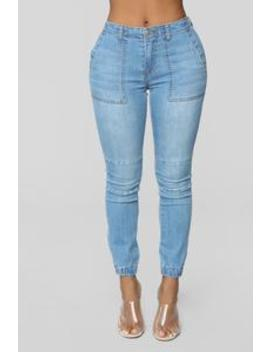 Best In Class High Rise Cargo Jeans   Medium Blue Wash by Fashion Nova