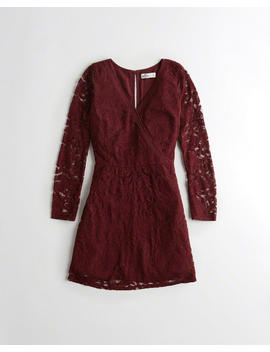 Wrap Front Lace Dress by Hollister
