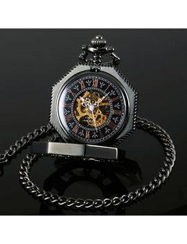 Reloj De Bolsillo Hexagonal Cuadrante Negro Mecánico Cadena Media Hunter Esqueleto Para Hombre by Ebay Seller