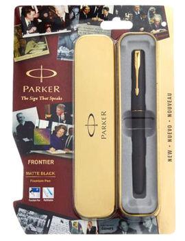 Parker Frontier Negro Mate Gt (Chapado En Oro Recortar & Nib) Tinta Estilográfica Nuevo by Ebay Seller