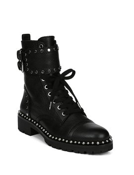 Jennifer Leather Studded Buckle Detail Booties by Sam Edelman