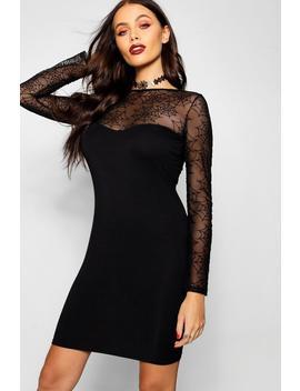 Halloween Web Detail Long Sleeve Bodycon Mini Dress by Boohoo