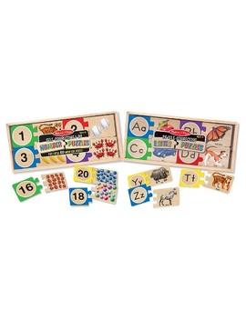 Melissa & Doug® Self Correcting Letter And Number Wooden Puzzles Set With Storage Box 92pc by Melissa & Doug