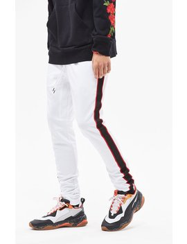 Pac Sun Drop Skinny 2.0 Tricot Side Stripe White Track Pants by Pacsun