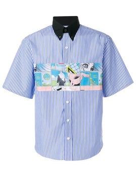 Contrasting Collar Striped Shirt by Prada